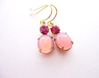 Rose Opal Earrings, Pink Opal and Magenta Rhinestones in Golden Brass