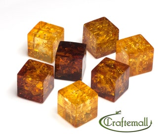 Natural Baltic Amber beads - 16mm cube cognac amber beads - one bead