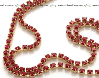 Preciosa crystal cup chain light siam 2mm ss65 - one meter