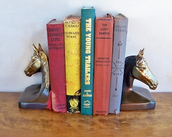 "Brass Horse Head Bookends ""Perfect for Your Cowboy Book Collection"""