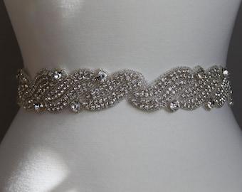 18 in to 36 in beaded rhinestone applique, trim, bridal sash, wedding sash, bridal headband, wedding headband,  bridal belt, rhinestone belt