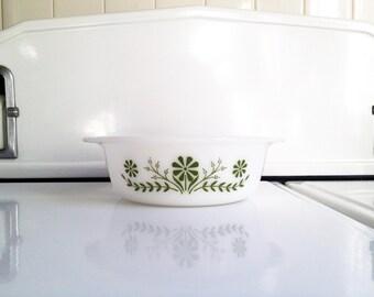 Mid Century Green Daisy Milk Glass Baking Dish