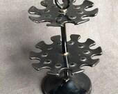 Retro round double decker black stamp holder. Office desk supply indus decor.