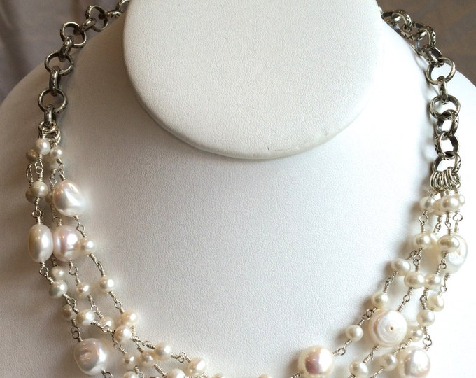 Wire Wrapped Pearl Necklace--Multiple Strand White Freshwater Pearls 16""