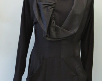 Stunning Vintage 1950's Black Ruffle Dress