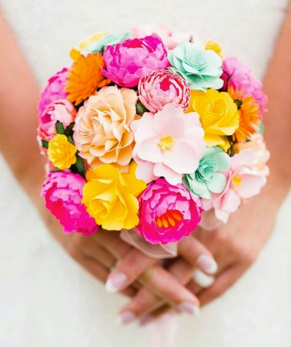 Hot Pink and Yellow  - Paper Bouquet - Customize your Style and Colors - Made To Order