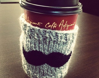 Movember Mustache Coffee Cozy, Coffee Sleeve, Mustache Cozy, Bottle Sleeve, Movember Cup Sleeve, Moustache Cup Cover