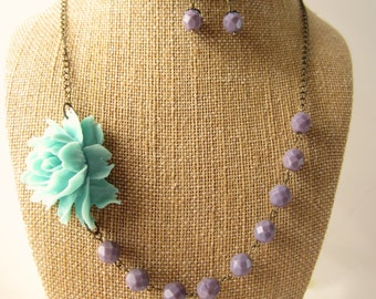 Aqua Flower Necklace Statement Necklace Lavender Necklace Pastel Jewelry Bridesmaid Necklace Set Floral Jewelry Wedding Jewelry
