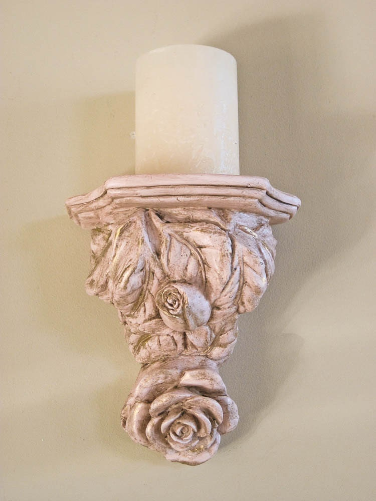 Pink Wall Sconce Candle Holder : Pink Wall Sconce Shelf / Candleholder Pillar Holder / Display