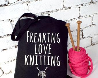 Freaking love knitting - Black knitting bag