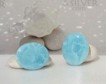 Larimar cabochon, 2 aqua Larimar stones, oval cab, ovals pair, turquoise cabs, aquamarine, soft blue, paired cabs, handmade cabs - 71.0 ct