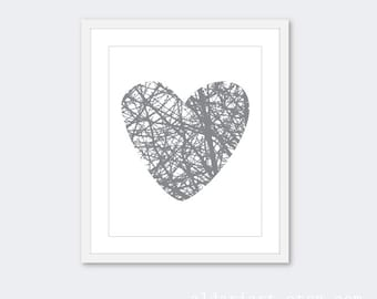 Heart Branches Art Print - Modern Heart Wall Art - Heart Home Decor - Love - Nature - Slate Grey