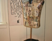 Vintage Male Dress Form Mannequin Table Top Decoupaged Painted Artful Decor **Ready to Ship**