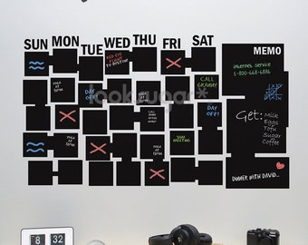 Chalkboard Calendar - Wall Calendar - Chalkboard Organizer - Chalkboard Decal - 0052
