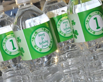 St. Patrick's Day Water Bottle Labels - St. Patrick's Day Decorations - Shamrocks, Clovers, Green - Set of 10