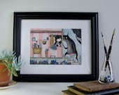 An Unexpected Visitor - ORIGINAL framed artwork - who's at the door garden visit guest girl monster wallpaper interior hall home pink navy