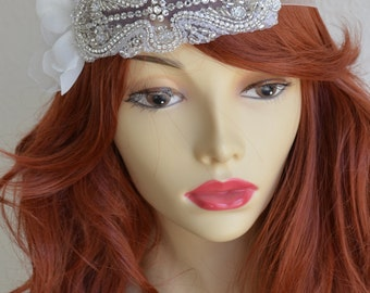 Bridal Art deco Petal Rhinestone headband, Petal boho headband, Art Deco, Swarovski crystals, rhinestones, beading, Bridal