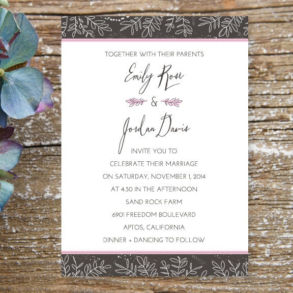 Rustic Romantic Wedding Invitation Vintage Kraft Paper