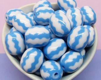 10x 20mm Watermelon Blue and White Stripey Beads
