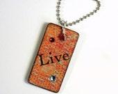 Decoupaged Keychain Rectangle Wood Key Chain Swarovski Crystal Embellished Orange Red Gift for Her Under 10