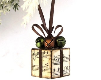 Small Christmas Ornament Sheet Music Brown and Olive Green Christmas Present Package Decoration Jingle Bells