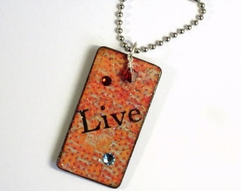 Decoupaged Keychain Rectangle Wood Key Chain Swarovski Crystal Embellished Orange Red Gift for Her Under 10