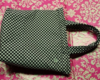 Checkerboard - White Interior - 2 Handle - Purse - Cotton - Heavy Duty Red Zipper - Hand Made Ink