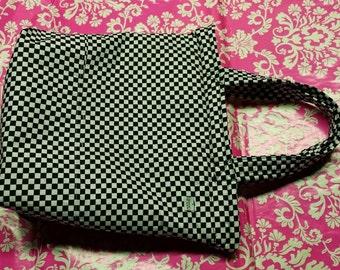 Checkerboard - Purse - Cotton - Red Zipper - White Interior - 2 Handle - Made in U.S.A.