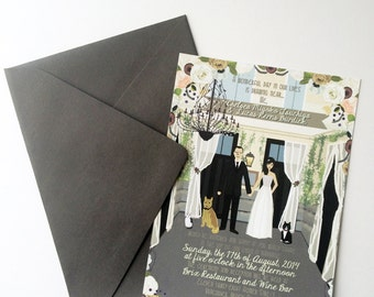 Invite Card Only : Custom Illustrated Wedding Invitations, Design Fee