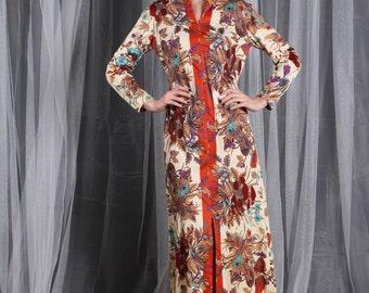 Dress 1960s 1970s  Vintage 60s 70s MUSHROOMS BIRDS   Novelty Print Maxi Gown S Small M Medium