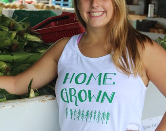 White HOME GROWN Screen-printed Athletic Tank