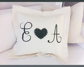 SALE--Hand Painted Valentine PillowCOVER with Custom Initials, Wedding gift, Anniversary gift