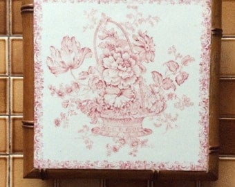 Antique French Country Red Pink Floral Transferware with Faux Bamboo