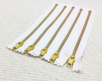 8inch - White Metal Zipper - Gold Teeth - 5pcs
