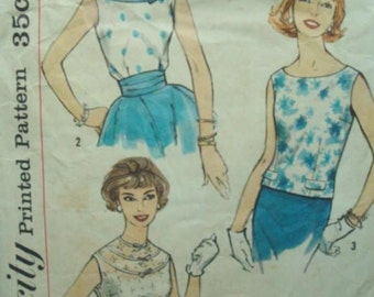 1950s Rat Rod Rockabilly Round Neck Blouse Simple to Make One Yard Blouses Dart Fitted Simplicity 2510 Bust 32 Womens Vintage Sewing Pattern
