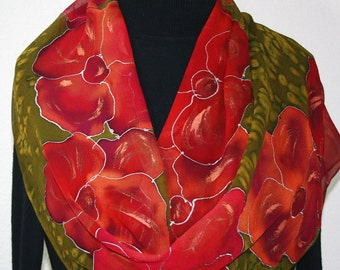 Silk Scarf Hand Painted Silk Shawl Red Antique Green Hand Dyed Silk Scarf FLOWER FIELDS Extra Long 11x90 Birthday Gift Scarf Gift-Wrapped