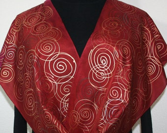 Burgundy Silk Scarf. Copper Red Hand Painted Scarf. Handmade Silk Shawl COPPER WINDS. Size 11x60. Birthday, Bridesmaid Gift. Gift-Wrapped