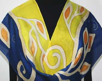 Silk Scarf Hand Painted Silk Shawl Yellow Navy Blue Hand Dyed Silk Scarf GOLDEN WILLOWS Size 11x60 Birthday Gift Scarf Gift-Wrapped Scarf
