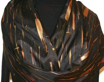 Black Silk Scarf Hand Painted Silk Shawl Hand Dyed Silk Scarf SHOOTING STARS Large 14x72 Birthday Gift Scarf Gift-Wrapped Silk Scarf