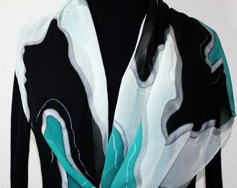 Silk Scarf Hand Painted Chiffon Silk Shawl Black Teal White Silk Scarf NIGHT WATERFALL Extra Long 11x90 Birthday Gift Scarf Gift-Wrapped