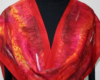 Red Silk Scarf. Crimson Hand Painted Scarf. Orange Handmade Silk Shawl RED CHIC. Bridesmaid Gift. Gift-Wrapped. Offered in Several SIZES