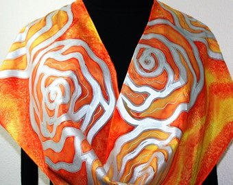 Orange Silk Scarf. Yellow Hand Painted Scarf. Red Handmade Silk Shawl RAINING SUNSHINE. Size 11x60. Birthday, Valentine Gift. Gift-Wrapped