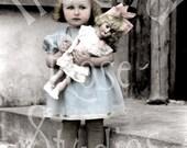 Clara Jane and her Doll-Vintage Photo Digital Download