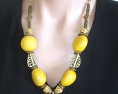 RESERVED for LL:  Statement Necklace Ashira Organic Yellow Tagua from Peru and African Brass Statement Necklace - Bohemian / African