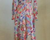Vintage 70's Zibaut Silk Floor Length Shirtwaist Mosaic Print Dress Made France Bust 36 Waist 28