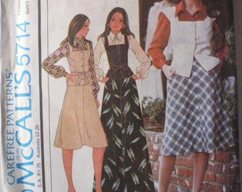 70's Vest and Bias Skirt Sewing Pattern - McCall's 5714 - Sizes 10-12-14, Bust 32 1/2 - 36, Uncut
