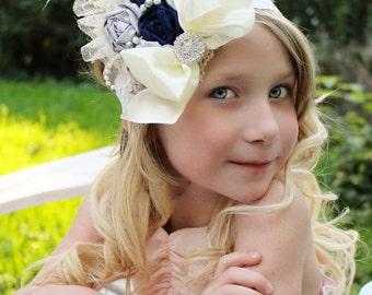 Navy gray headband, navy grey flower headband, over the top headband, rolled flowers,any size,feather headband,ostrich feathers, photo prop,