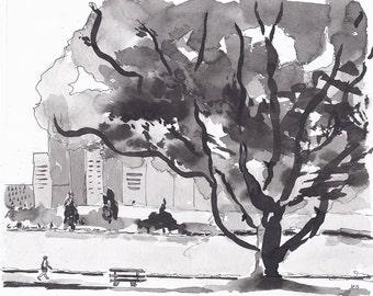Original Art, Pen and Ink Painting, Black and White Art, Modern landscape, Cityscape Urban Art