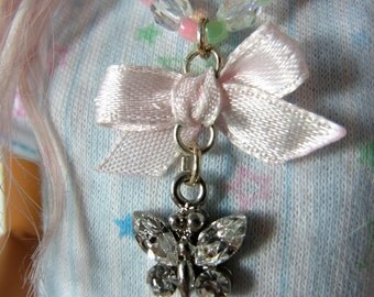 MSD BJD OOAK Sweet butterfly pastels necklace and a matching bracelet
