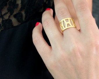 Geometric shape Matte Gold Plated Brass adjustable ring Boho bride Vintage inspired gift for her Holiday jewelry minimalist bohemian jewelry
